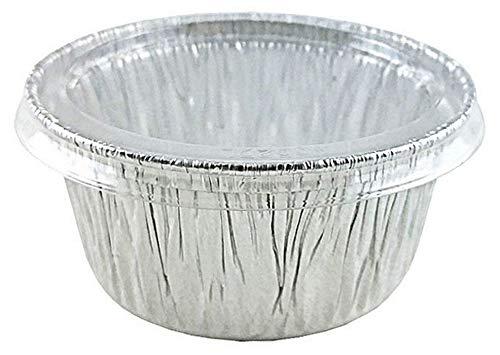 Pactogo 4オンス アルミホイルカップ 透明プラスチック蓋付き - 使い捨てユーティリティ/カップケーキ/ラミキン/マフィンベーキング缶