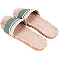 FENICAL Flax Slipper Summer Beach Shoes Skid Resistance Slippers for Woman Lady Girls (Green, 35-36 Yard)