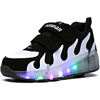 Ufatansy Kids Adults LED Shoes Light Up Wheels Roller Skates Flashing Fashion Sneakers for Unisex