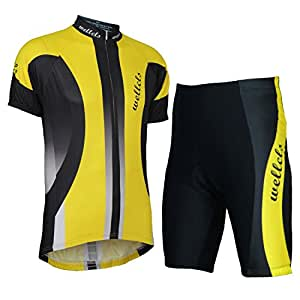 Wellcls 半袖 サイクルジャージ 上下セット 自転車 サイクリング (イエロー, S)