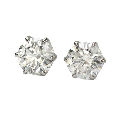 【 DIAMOND WORLD 】レディース ジュエリー PT900 ダイヤモンド 0.6ct スタッドピアス F・Gカラー SIクラス Goodカット PT6本爪