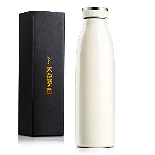 水筒 500ML 真空断熱 保熱保冷 Love-KANKEI プレゼント マグ ボトル 可愛い 牛乳瓶 アイボリー