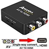 RCA to HDMI, AMANKA 1080P Mini RCA Composite CVBS AV to HDMI Video Audio Converter Adapter with USB Charge Cable for PC Laptop Xbox PS4 PS3 TV STB VHS VCR Camera DVD
