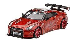 MINI GT 1/64 LB★WORKS ニッサン GT-R R35 タイプ1 リアウイング バージョン 1+2 キャンディレッド 左ハンドル 完成品