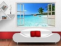 Ansyny カスタム3D写真壁紙壁画リビングルームの壁のステッカー熱帯のビーチ風景3D画像3D壁の壁画壁紙用壁-130X100CM