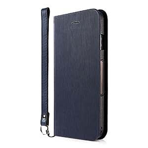 Simplism iPhone X 手帳型 ケース [FlipNote Slim] 自動 ON / OFF 対応ケース ヘアラインネイビー TR-IP178-FNSS-HNV