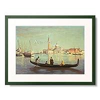 ジャン=バティスト・カミーユ・コロー Jean-Baptiste Camille Corot 「Gondola on Grand Canal, Venice.」 額装アート作品