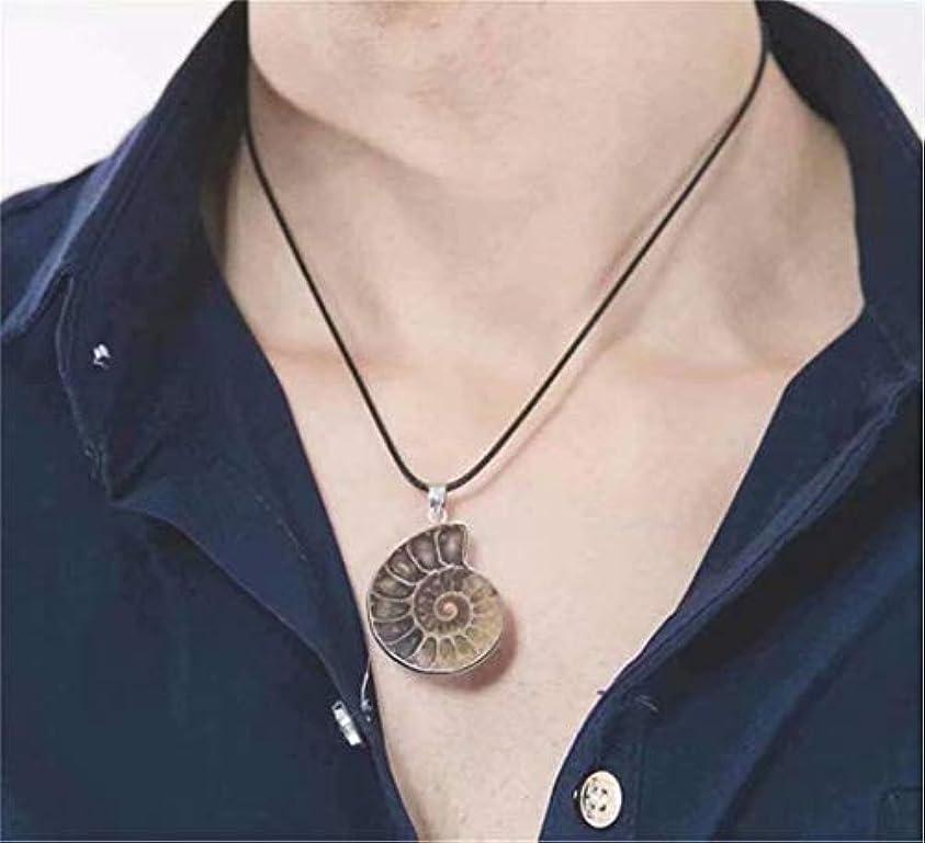 同情的データム杭七里の香 チャーム手作りナチュラルコーチの化石のアンモナイトラップペンダントネックレス