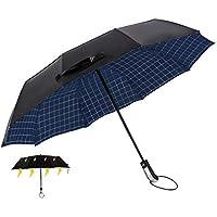 Raineed 自動開閉の折りたたみ傘 強い風に耐える2層構造 弧125cm 紫外線を防ぐ 10本骨ガラス繊維 収納ポーチ付き