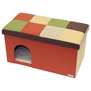ペティオ (Petio) ネココ キャットハウス&スツール オレンジモザイク ワイド