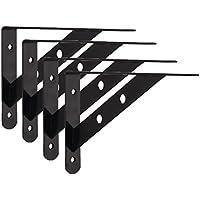 lewu l字 棚受け 鉄厚さ3mm アイアンブラケット 4本入れ ビス付き ブラック (250x160mm)