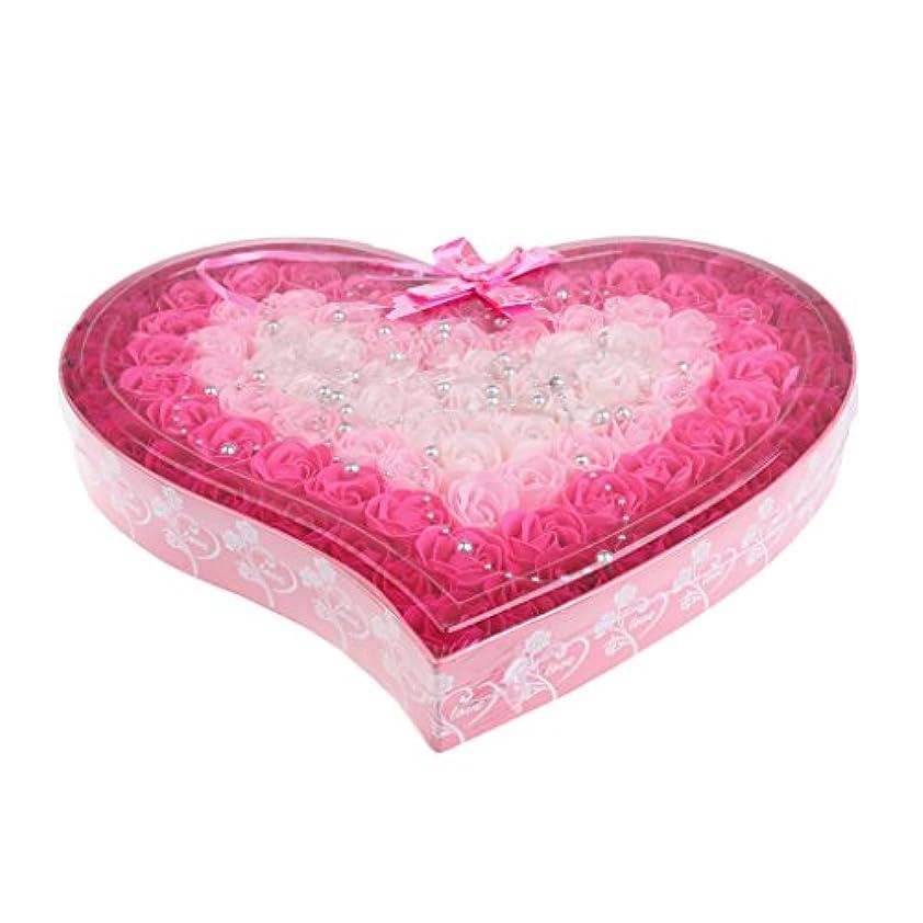 周術期圧縮されたモデレータ石鹸の花 造花 ソープフラワー 心の形 ギフトボックス 母の日 バレンタイン プレゼント 全4色選べる - ピンク
