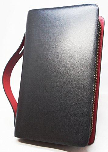 908302eccc74 ブラック×レッド F スペイン レザー セカンドバッグ セカンドバック 長財布 メンズ 財布 本革