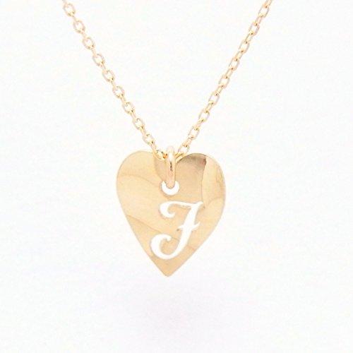 Heart Initial J 18金製 K18 gold ゴールド (日本製 Made in Japan) (金属アレルギー対応) イニシャル 「J」 波型 ハート プレート ペンダント ネックレス チェーン ジュエリー (Amazon.co.jp 限定) [HJ] (45 センチメートル)