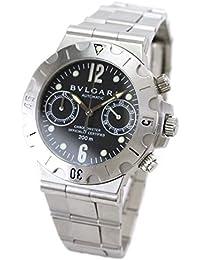 50a1820acac3 ブルガリ BVLGARI ディアゴノ スクーバー クロノグラフ SCB38S メンズ 腕時計 ブラック 自動巻き オートマ ウォッチ ...