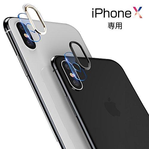 iPhone x ガラスフィルム カメラフィルム iphone x フィルム レンズ保護リング 液晶保護 高透過率 0.28mm薄型 硬度9H レンズ保護 自動吸着 iphone x レンズ保護ガラスフィルム Genios(シルバー)