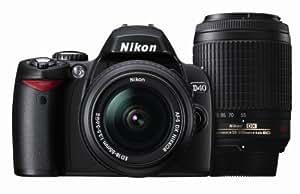 Nikon デジタル一眼レフカメラ D40 ダブルズームキットII ブラック D40BWZII