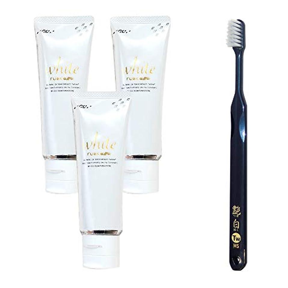 合図そんなに承認するGC ルシェロ歯磨きペースト ホワイト 100g×3本 + 艶白(つやはく) 二段植毛歯ブラシ (日本製) ×1本 MS(やややわらかめ) 歯科専売品