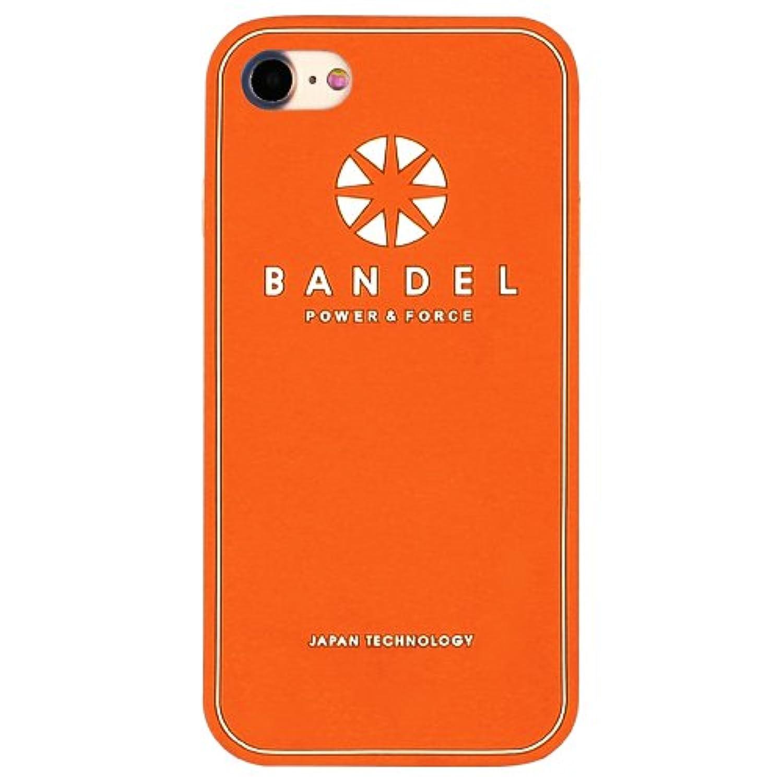 クライアント違法二次バンデル(BANDEL) ロゴ iPhone 8専用 シリコンケース [オレンジ×ホワイト]