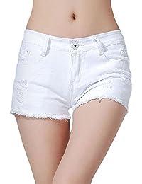 【TaoTech】 デニム パンツ ショーパン ダメージ加工 レディース 短パン 美脚効果 大きい サイズ S M L