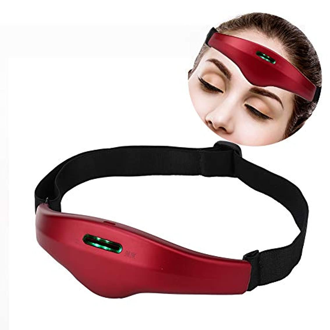 設計図エントリに同意する電気ヘッドマッサージャー、ストレス解消のためのコントロールネックマッサージャーとより良い睡眠の声インテリジェント睡眠マッサージ装置(Vermilion Red)