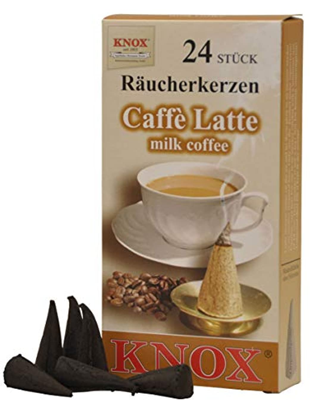 可動式以上画面Knoxコーヒー香りつきIncense Cones、24パック、ドイツ製