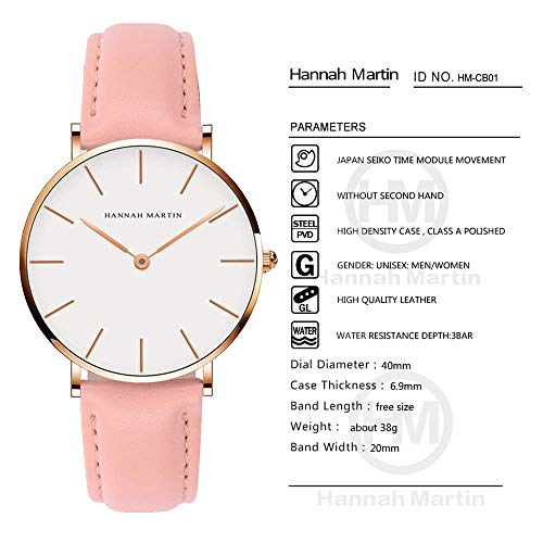 レディース 腕時計 Hannah Martin おしゃれ クラシック シンプル 女性 時計 ビジネス クォーツ watch for women (ホワイト+ピンクバンド)