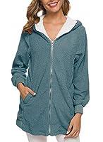 Keaac レディースファッションロングスリーブ暖かいウールラムカジュアルジッパーラペルカジュアルコート Denim blue M