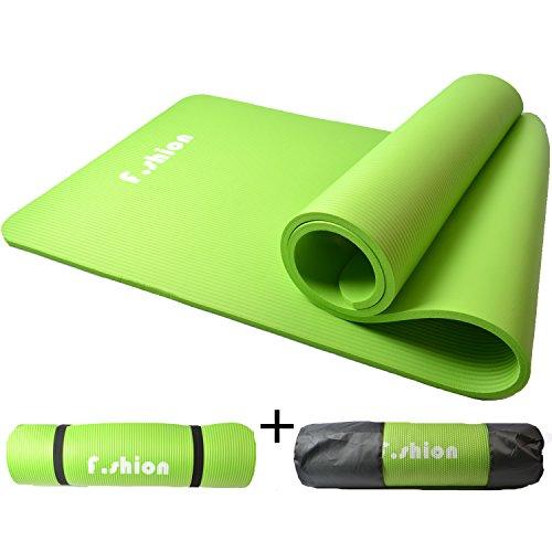 YOGA MAT ヨガマット 収納ケース付き 厚さ10MM エクササイズマット ピラティスマット トレーニングマット にも使用可能 (緑)