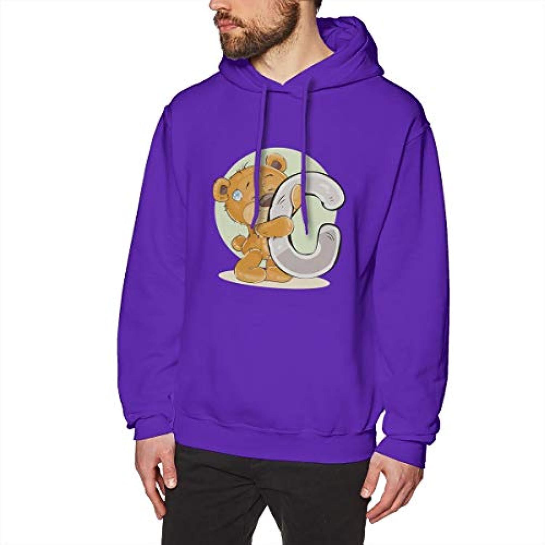 BerryeEアルファベットC ぬいぐるみ ベア 抱いている パーカー メンズ Tシャツ 長袖 無地 個性 通勤 ゲーム ジョギング ファッション スウェット カジュアル フード付き ロゴ プルパーカー 男女兼用 秋冬