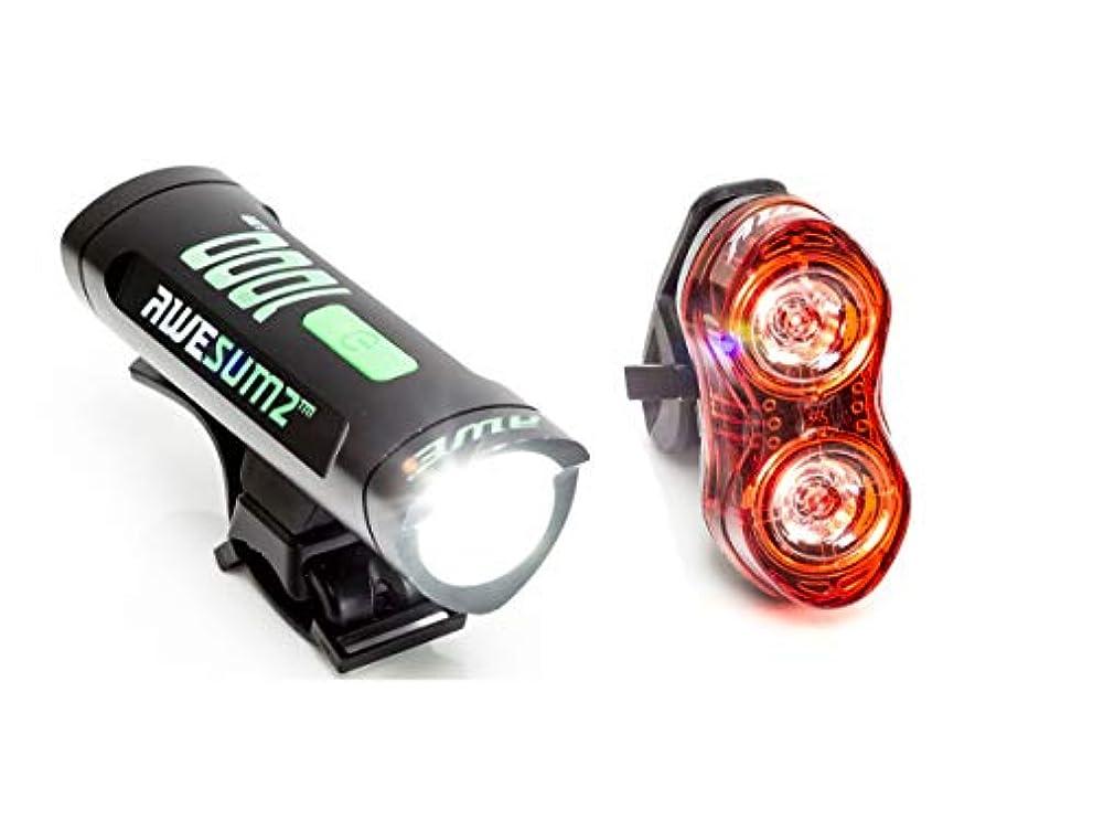 強打連結する作り上げるAWE 1000 Flash USB充電式 自転車用 前方& 後方 ライトセット 眼が眩むほど明るい! 1040ルーメン 防水度 IPX4