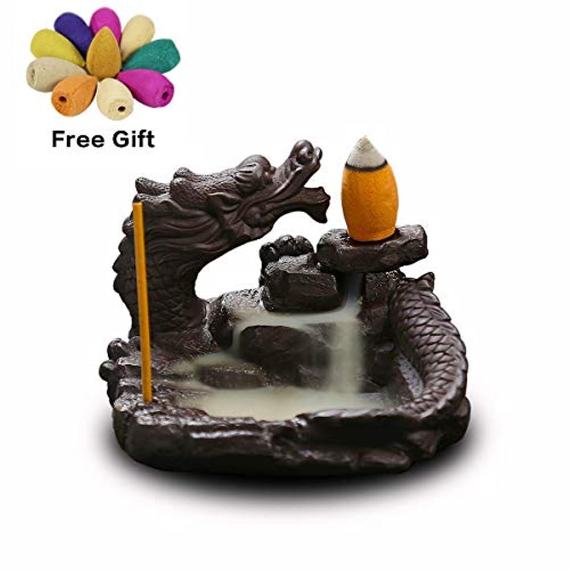 モード田舎キルト(Style6) - OTOFY Mythical Dragon Backflow Incense Holder Figurine Incense Cone Holder Gothic Home Decor