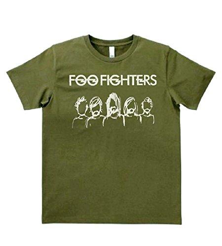 【ノーブランド品】 音楽 バンド ロック FOO FIGHTERS フーファイターズ Tシャツ カーキー MLサイズ (L)