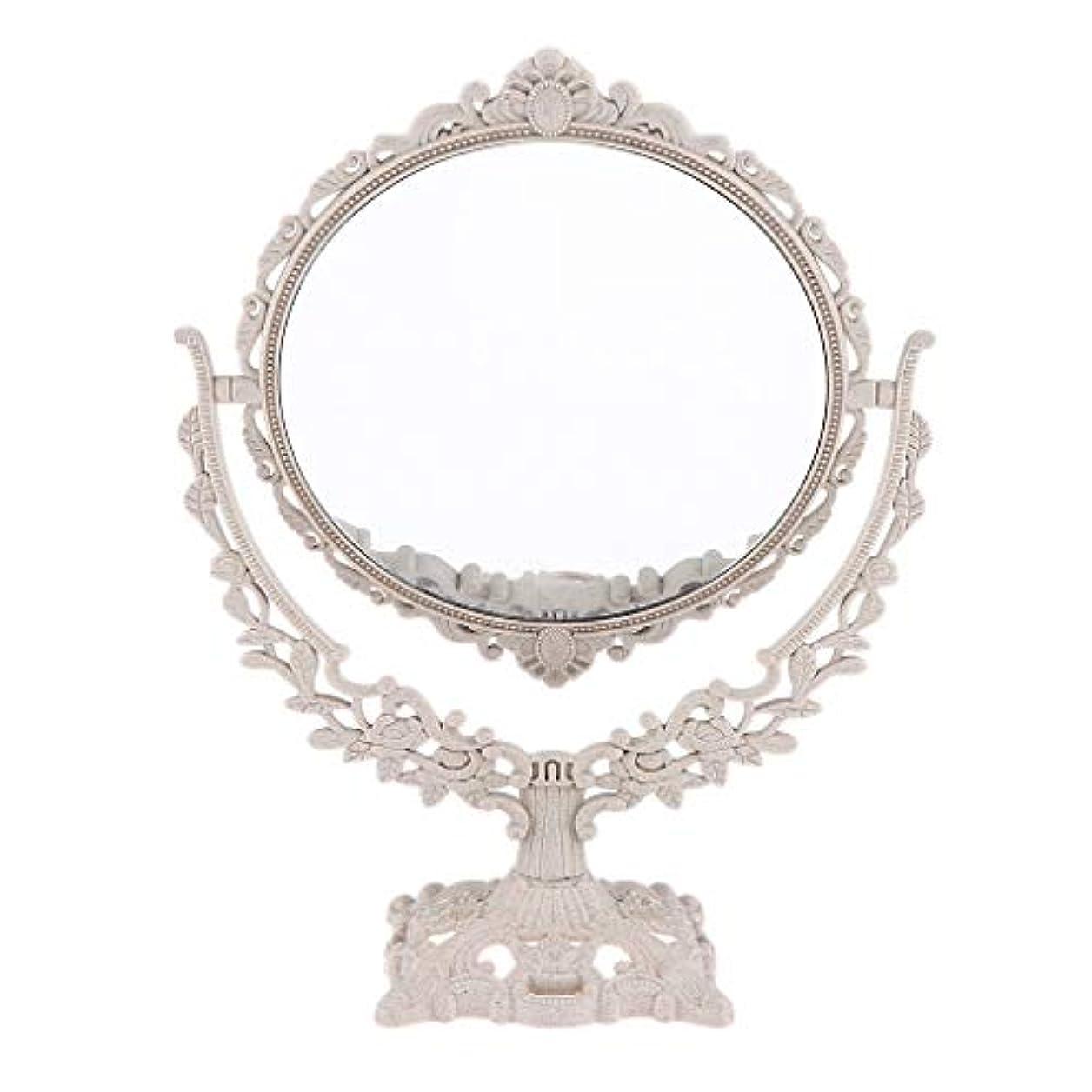 悲観的効果的にクリームPerfeclan ミラー 鏡 メイクアップミラー 化粧鏡 スタンドミラー 両面鏡 卓上鏡 360度回転 彫刻 パターン - 円形