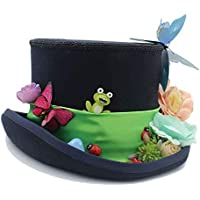 Trendy Hat, DIY Steampunk Cylinder with Forest Flowers Mad Hatter Hat for Women Style Your Life (Color : Black, Size : 55cm)