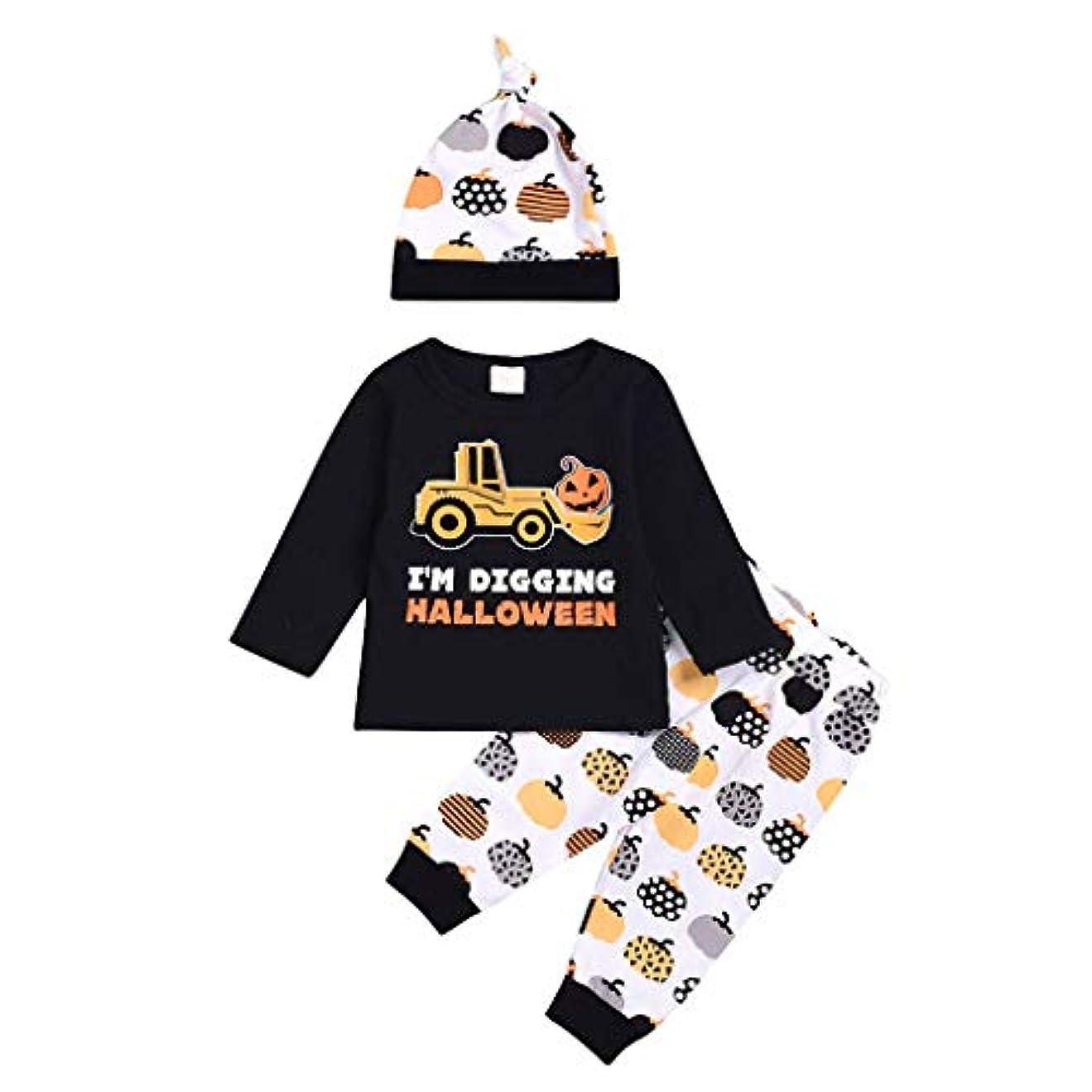 原理怪しいまぶしさパンプキン 可愛い ハロウィン 子ども服 子供用 tシャツ+ズボン+帽子3点セット ベビー服 ビューティー 柔らかい カジュアル 普段着 通園 通学 遊び着 (黒, 90(12-18ヶ月))