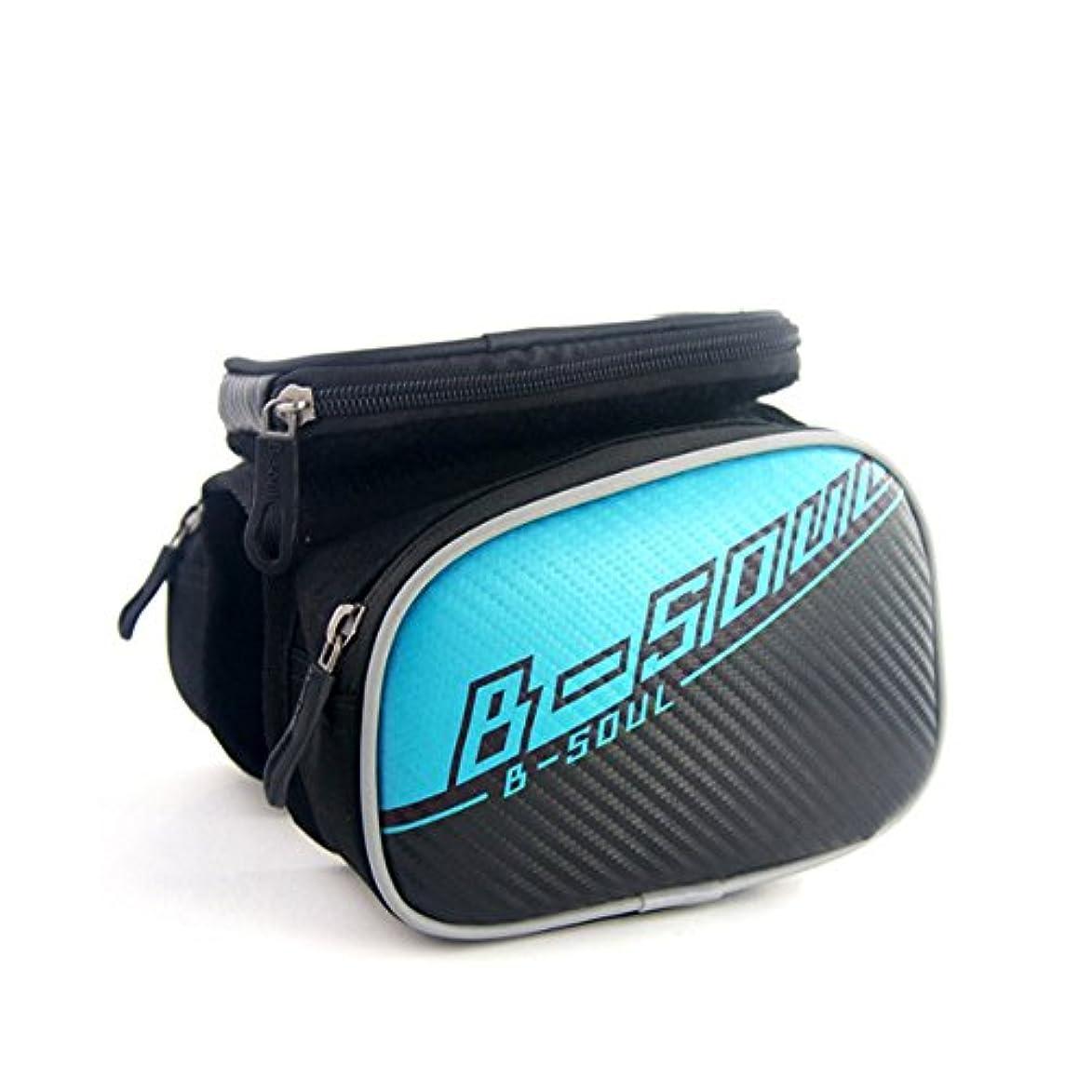 炎上飼い慣らす擬人自転車サドルバッグ防水バッグ自転車フレームバッグ、5.5インチのスマートフォンに適した自転車のフロントチューブフロントチューブバッグ サドルバッグ?フレームバッグ (色 : 青, サイズ : 5.5