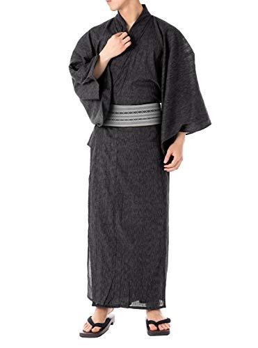 [キョウエツ]浴衣セットいなせG6点セット(浴衣、帯、下駄、信玄袋、腰紐、扇子)メンズ(M,G-1.黒(綿角帯灰))