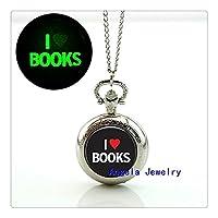 私は本の熱烈な懐中時計ネックレス私は本をガラスの宝石の輝きのネックレスが好き