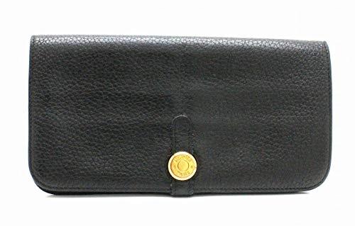 [エルメス] HERMES ドゴンロング 2つ折長財布 トゴ レザー ブラック 黒 ゴールド金具 □M刻印