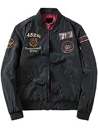 Sodossny-JP メンズ軽量ボンバージャケットカジュアルフルジッププリントアウターウェアコート