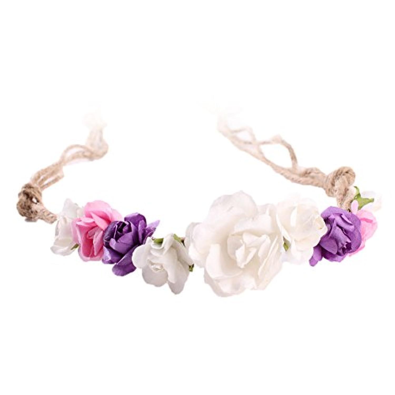LUERME ベビー ヘアバンド 麻縄 小道具 髪飾り 花飾り 調整可能 撮影用 お祝い