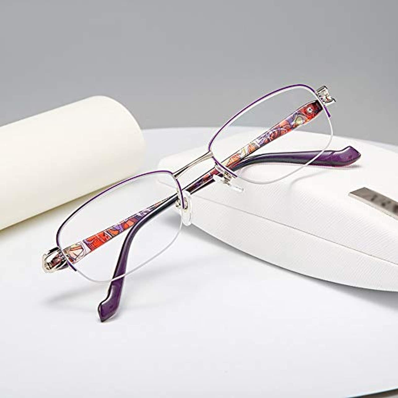 バンジージャンプアイドル弁護人ファッションの老眼鏡超軽量ハーフフレームブロッキングブルーメガネで読むための青い眼鏡、男性と女性のための読者の価値多焦点レンズHd