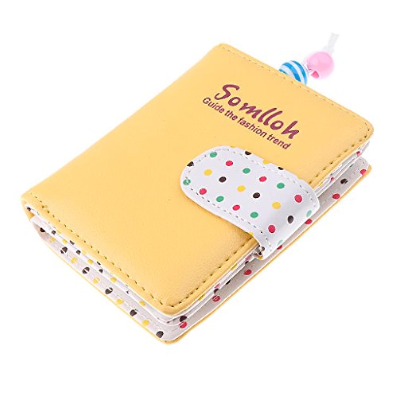 SONONIA ファッション 女性 女の子 二つ折り 財布 クラッチ コイン カード ホルダー 財布 ハンドバッグ ドット  全6色 - 黄
