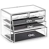 BINO 5 Drawer Acrylic Jewelry and Makeup Organizer, Clear Cosmetic Organizer Vanity Storage Display Box Make Up Organizers an
