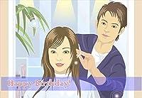 【美容室向けポストカードAIR】「Happy Birthday 」女性イラストはがき絵葉書」美容院・美容室・理容店向けはがき 絵葉書