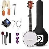 Vangoa 5 String Banjo 26 Inch, MINI Travel Banjo, Closed Solid Back with beginner Kit, Tuner, Strap, Pick-up, Extra Strings,