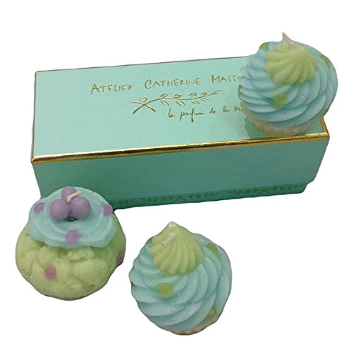 従順な圧縮見えるカップケーキキャンドル3SET(グリーン)