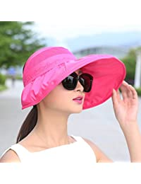 IAIZI 女性の折りたたみ式サン帽子、夏のカジュアル屋外日焼け止めUVプロテクションロング帽子寝袋空のトップビーチ帽子 (色 : ローズレッド)