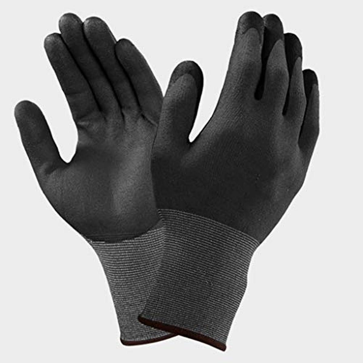 人工的な在庫お手入れQCRLB ニトリルゴム手袋滑り止め、抗カッティングおよび耐摩耗性作業労働者保護手袋多目的用途ブラック ゴム手袋